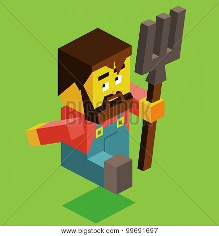 Farmer holding pitchfork. isometric art