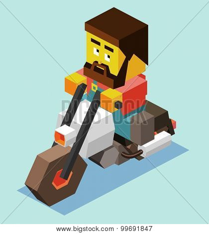 Bearded man rides motorcycle. isometric art