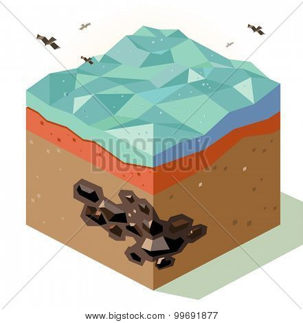 Mineral Coal offshore reserve. isometric art