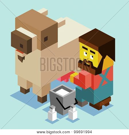 Goat milk is healthy. isometric art