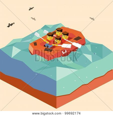 Rafting sport with friend. isometric art