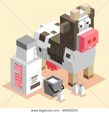 Cow Milk. isometric art