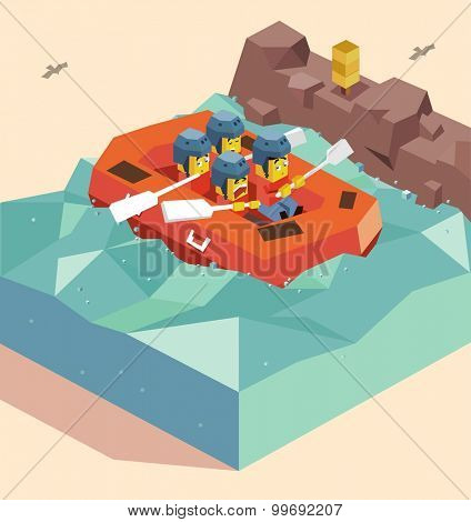 Rafting on River. isometric art