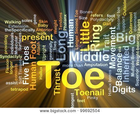 Background concept wordcloud illustration of toe glowing light