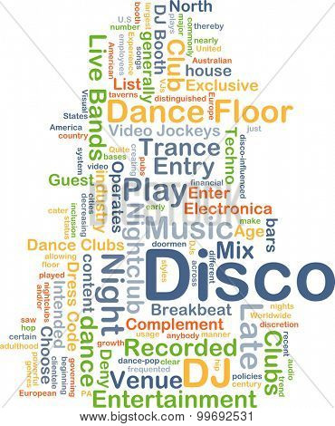 Background concept wordcloud illustration of disco