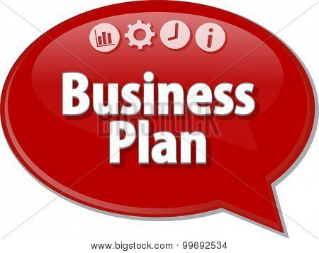 Speech bubble dialog illustration of business term saying Business Plan