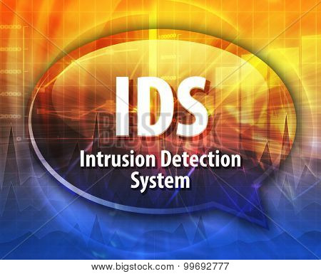 Speech bubble illustration of information technology acronym abbreviation term definition IDS Intrusion Detection System
