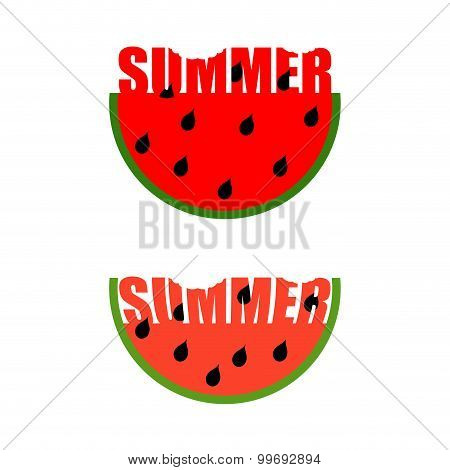 Summer Logo. Piece Of Watermelon With Word Summer. Traces Of Teeth On A Piece. Vector Emblem