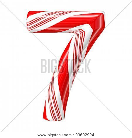 Mint hard candy cane 3d number collection striped in Christmas colours. Figure 7.