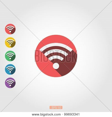 Wi-Fi - icon with long shadow, flat design