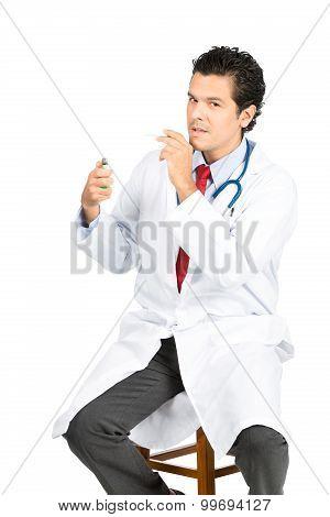Latino Doctor Lighting Cigarette Stool At V