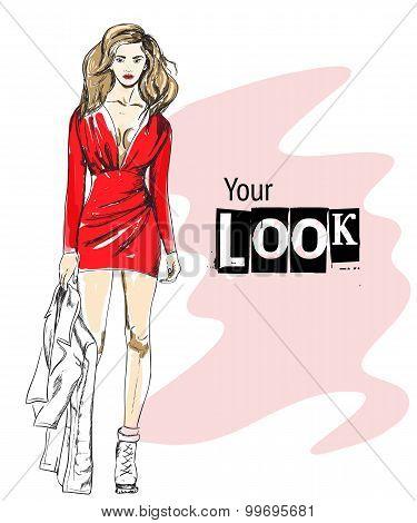 Vector Illustration Of Fashion Woman Look