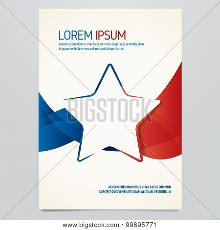 Vector blue and red star brochure, flyer, magazine cover template. Modern corporate design.