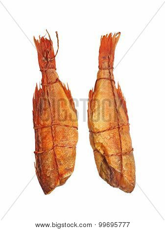 Set Of Smoked Sea Perch Isolated On White