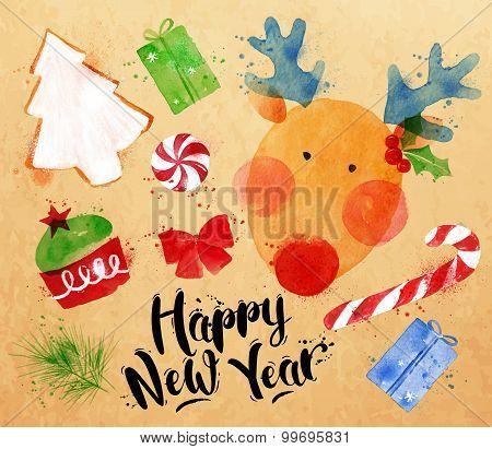 Watercolor Christmas Signs Kraft
