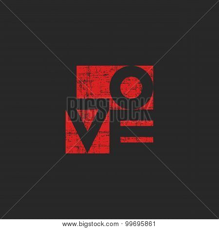Grange Old Poster, Shabby Red Word Love For Mockup T-shirt Print, Valentines Card Template
