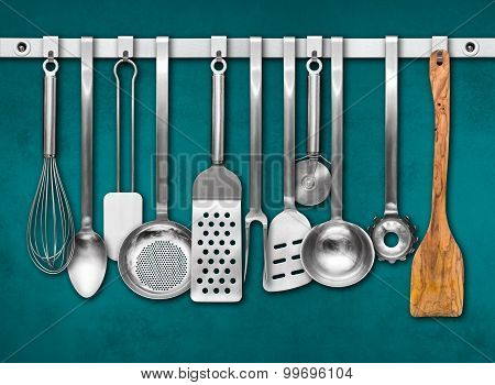 Metal Rail With Kitchen Tools