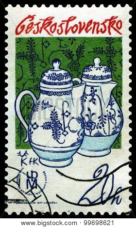 Vintage  Postage Stamp. Cofeepots Porselain.