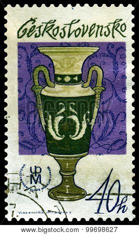Vintage  Postage Stamp. Vase.