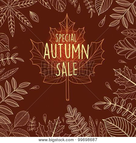 Autumn sale poster with outline leaves