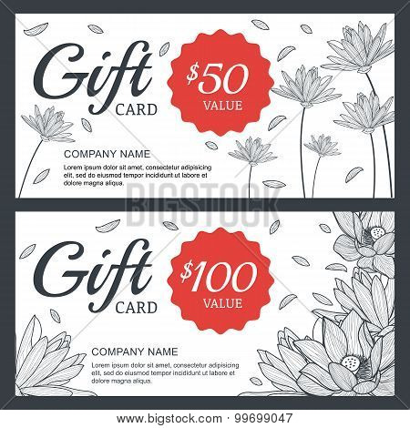 Vector Floral Gift Voucher Or Card Background Template. Vintage Illustration Of Lotus, Lily Flowers.