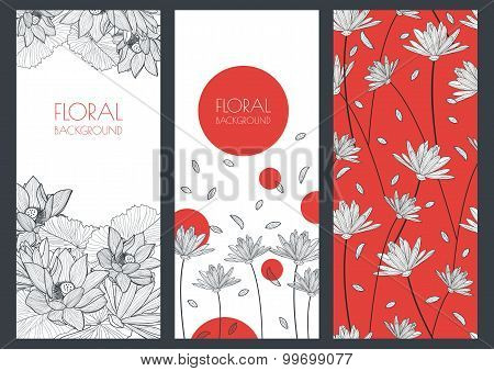 Set Of Vector Floral Banner Backgrounds And Seamless Pattern. Linear Illustration Of Lotus, Lily Flo