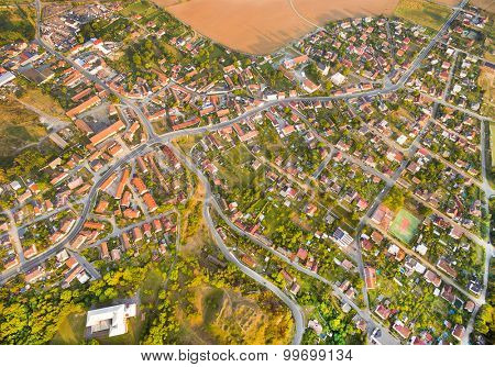 Aerial view to suburb of Pilsen in Czech Republic, Central Europe.