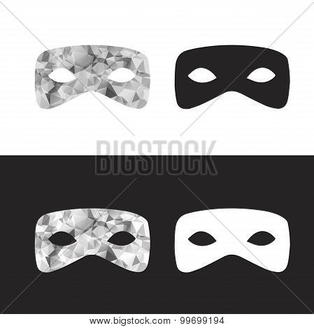 Vector Magictriangle  Mask, Black And White Low Poly Mask