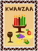 foto of unity candle  - traditional kwanzaa stuff drawn in simple manner - JPG