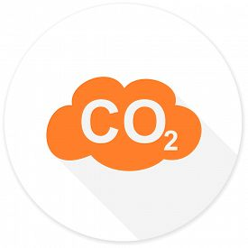 picture of carbon-dioxide  - carbon dioxide flat design modern icon with long shadow for web and mobile app  - JPG