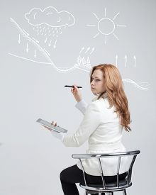 picture of transpiration  - Young woman drawing schematic representation of the water cycle in nature - JPG