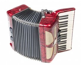 image of accordion  - Old red accordion isolated on a white background - JPG