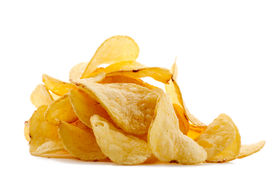 image of potato chips  - isolated pile of unhealth snack  - JPG