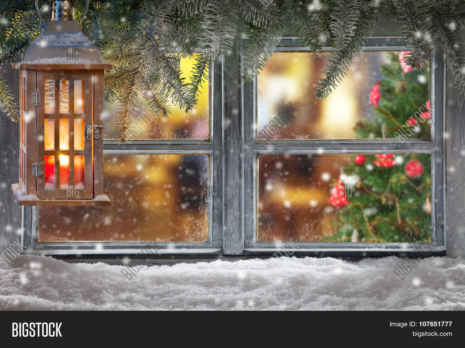 Atmospheric christmas window sill image photo bigstock for Photo decoration