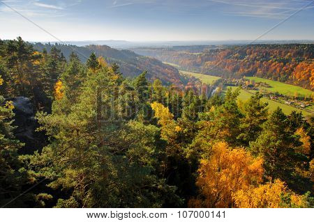 Vibrant Colorful Autumn Landscape With Long Distance View