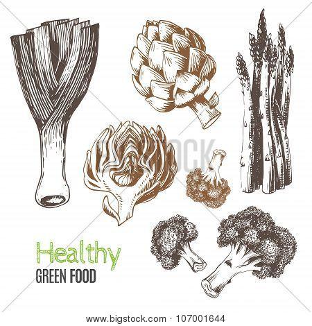Hand-drawn vegetables. Vector illustration.