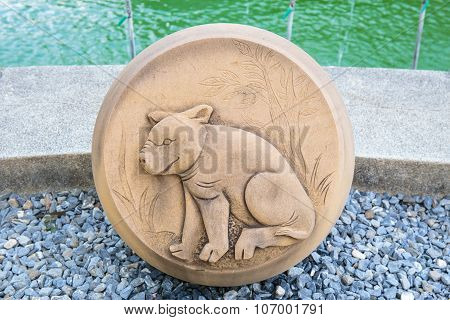 The Year of Pig, Chinese Zodiac Cement Craft at the public park of Thailand.