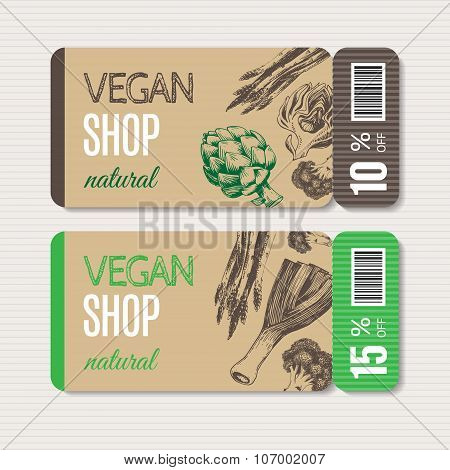 Promotional coupon for sale in organic shop.