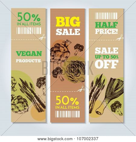 Hand-drawn vegetables on banners. Vector illustration.