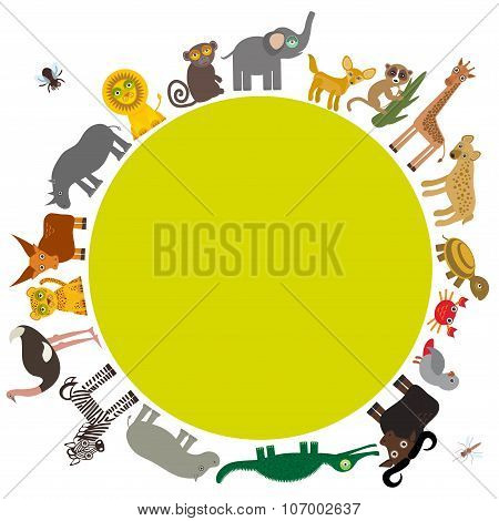 Round frame for text  Animal Africa parrot Hyena Rhinoceros Zebra Hippopotamus Crocodile Turtle Elep