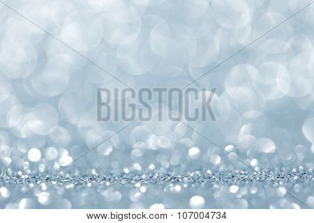 Abstract silver shiny glitter bokeh christmas background