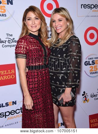 LOS ANGELES - OCT 23:  Sasha Alexander & Jessica Capshaw arrives to the GLSEN Awards 2015 on October 23, 2015 in Hollywood, CA.
