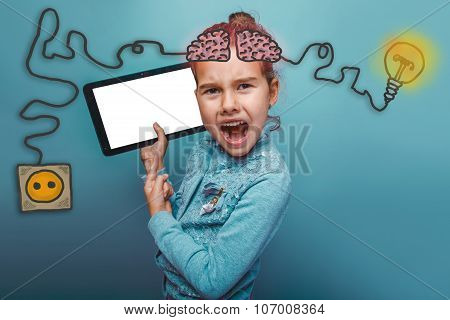adolescence baby girl points to the tablet and screaming rage ch