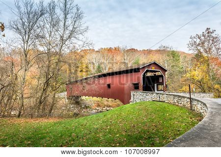 Covered Bridge In Pennsylvania During Autumn