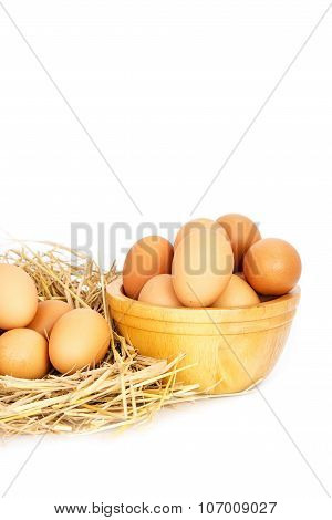 Egg, Chicken Eggs In A Basket And A Bowl