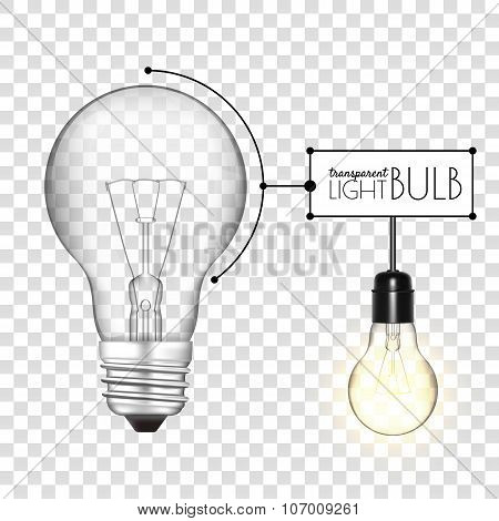 Realistic transparent light bulb. Glowing and turned off. Vector illustration for your design.