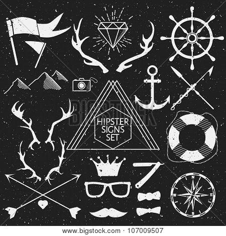 Hipster signs set. Antlers, anchor, lifebuoy, arrows, logo, etc. Vector Illustration.