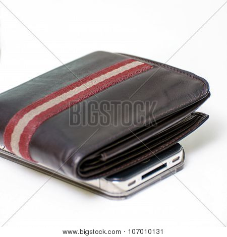 Brown Wallet And Smartphone Isolated White Background