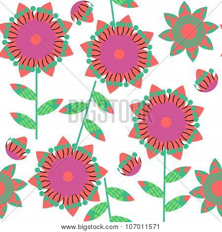 Colorful Floral Seamless Pattern In Green  And Red Colors And Seamless Pattern In Swatch Menu, Vecto