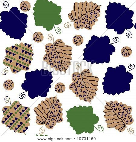 Odd Seamless Pattern  With Creative Leaves And Seamless Pattern In Swatch Menu, Vector Illustration.